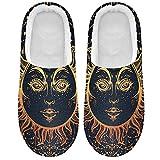 Linomo Zapatillas étnicas tribales de sol y luna con cara de estrella para mujer, zapatillas de casa, zapatos de dormitorio, multicolor, 45/46 EU