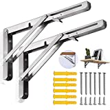 ZOMCHAIN Folding Shelf Brackets 16 Inch, Heavy Duty Stainless Steel Collapsible Bracket,Hinge Wall Mounted for Space Saving,Table Work Bench, DIY Bracket, 2 PCS