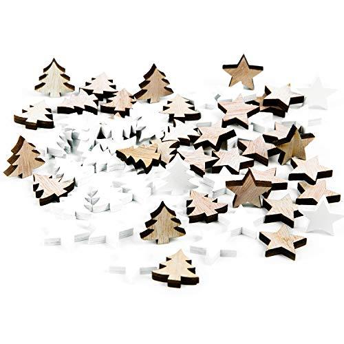 Logbuch-Verlag 56 kleine Mini Holzstreuteile Baum + Stern 2,5 cm Holz Streudeko Weihnachten Deko zum Streuen weiß + Natur