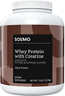 Amazon Brand - Solimo Whey Protein Powder with Creatine, Chocolate, 5 Pound Value Size (44 Servings)