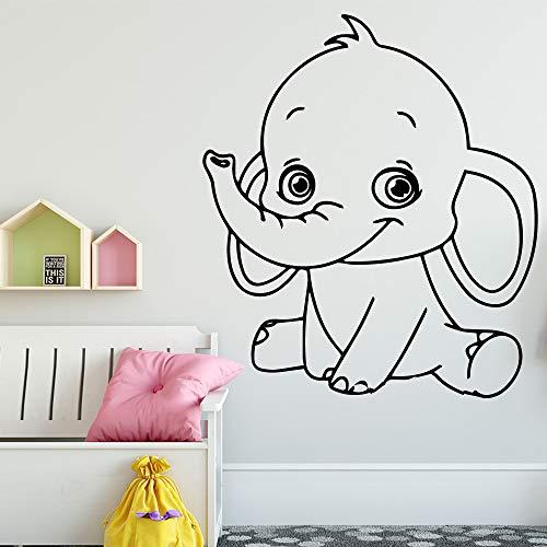 TYLPK Elefante de dibujos animados Vinilo Etiqueta de la pared Niños Dormitorio Decoración Habitación Etiqueta de la pared Etiqueta Mural Etiqueta de la pared verde 30X34 CM