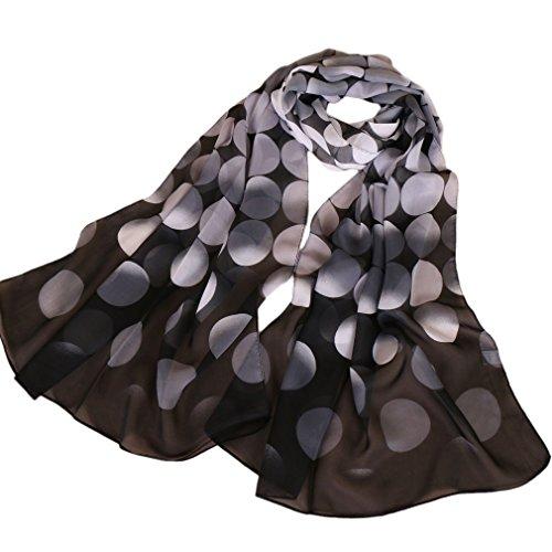 KAVINGKALY Bufanda de la flor de la gasa bufandas florales de las mujeres Impreso bufanda de la gasa lunares chales bufanda larga abrigo