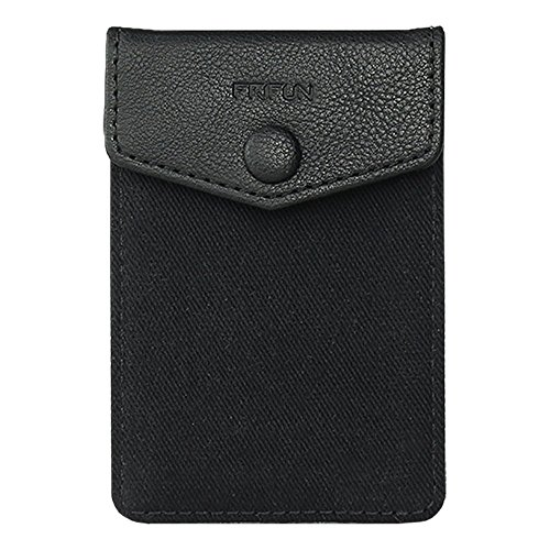 FRIFUN Card Holder for Back of Phone with snap Ultra-Slim Self Adhesive Phone Wallet Stick on Cell Phone Android All Smartphones RFID Blocking Sleeve Covers Credit Cards and Cash (Black)