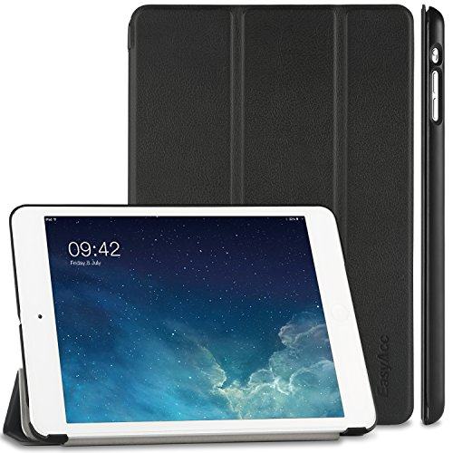 EasyAcc Ultra Slim Hülle Kompatibel mit iPad Mini 1/2/3, Ledertasche Flip Hülle Smart Cover mit Wake Up & Standfunktion Kompatibel mit iPad Mini/iPad Mini 2/iPad Mini 3 (2014) - Schwarz, Ultra Dünn