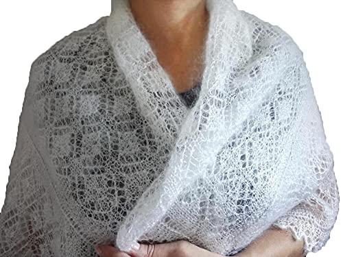 orenburg shawl knitted shawl cashmere goat yarn wool shawl russian shawl white