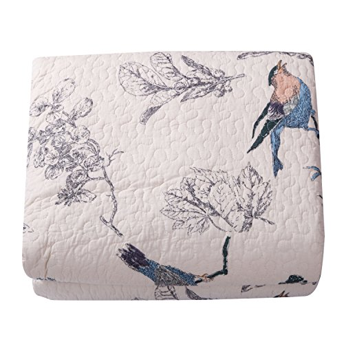 Best Comforter Sets, Flying Birds Printing 3 Piece Cotton Bedspread/Quilt Sets (King)