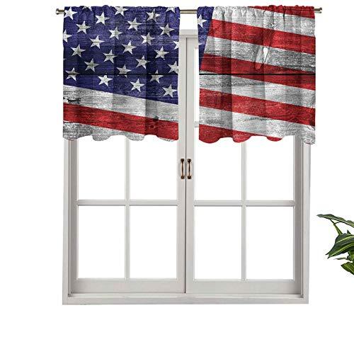Hiiiman Cortina opaca para ventana con bolsillo para barra de visera, día de la independencia, juego de 2, 137 x 60 cm para sala de estar, cortina recta corta