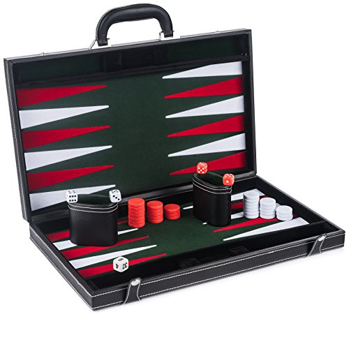 "GrowUpSmart 17"" Smart Tactics Mid-Entry Leather Backgammon Set"