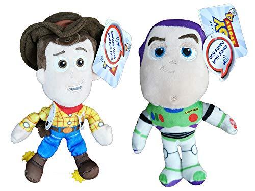 """Disney Toy Story - Pack 2 Peluches Sheriff Woody, el Vaquero + Buzz Lightyear con Voz en español al Pulsar su Mano 7'70""""/20cm Calidad Super Soft"""