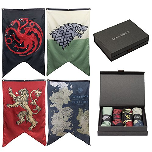 Calhoun Game of Thrones House Sigils & Westeros Map Wall Banner Gift Set - Set of 4