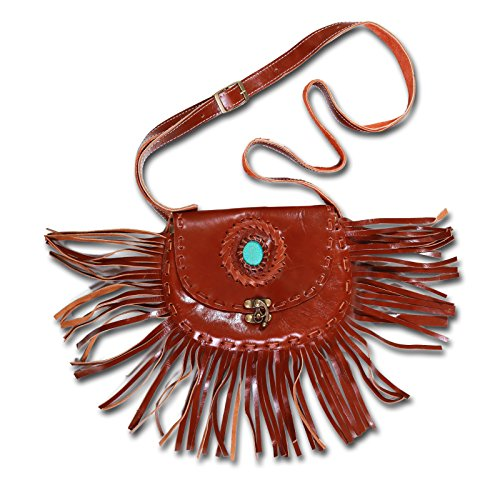 Kunst und Magie Western Damenhandtasche/Schultertasche, Leder mit Stein und Fransen, Farbe:brauntöne