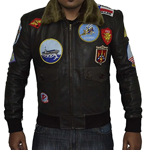 Top Gun Brown REAL Sheep Leather Jacket SAT 2