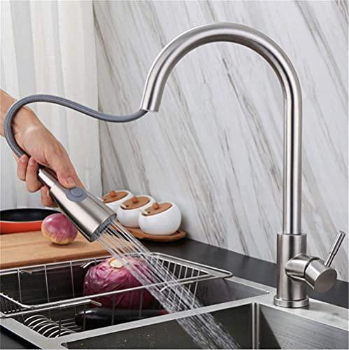 Grifo monomando extraíble de acero inoxidable 304 para fregadero de cocina, color plateado + manguera de conexión 3/8