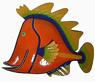 WorldBazzar Orange Beautiful Unique Fish Metal Hanging Wall Art Scratch and DENT Sale