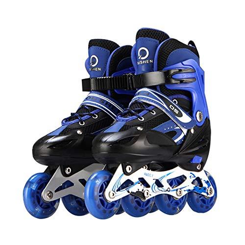 GUOCU Inline Skates für Kinder, Verstellbare Inline Skating Geeignet für Alles Kinder,Blau,M