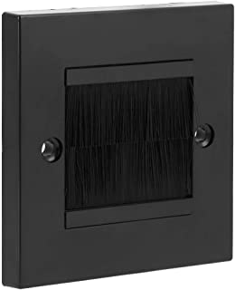 Fdit dammförebyggande enkel borste väggplatta kabelpass för ledningar utlopp monteringspanel (svart)