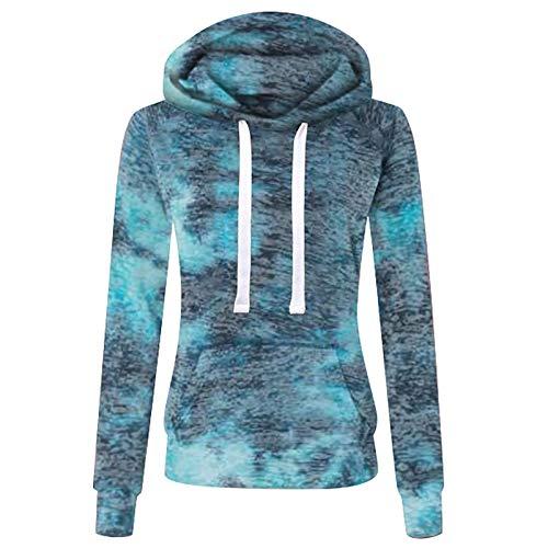 Xmiral Hoodie Oberbekleidung für Damen Beiläufig Tie-Dyed Sweatshirt Reißverschluss Langarm Tasche Lose Mantel Übergröße Farbverlauf Pullover(Hoodie-Blau,3XL)