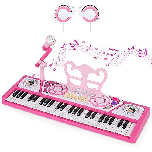 おもちゃ ピアノ 49鍵盤 SANMERSEN おもちゃ 電子ピアノ 電子キーボード 8種類音色 8種類ドラム 22曲模範曲 電池給電式 スピーカー 楽器キーボード 譜面立て 携帯/タブレット/MP3などと連続可能 CPC&CE認証済 マイク&イヤホン付き 「日本語取扱説明書付き」 ピンク