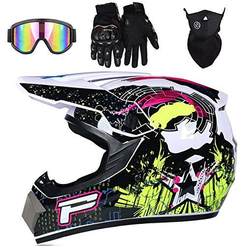 MJH-001 Big 'P' Sign - Casco de moto para niños, con máscara de gafas y guantes de BMX, para niños y niñas, ideal como regalo, color negro y blanco