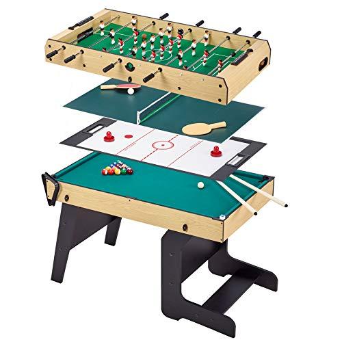 Kangui Table Multi Jeux Pliable 4 en 1 Adulte - Babyfoot - Billard - Ping Pong - Hockey