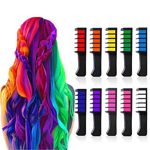 Hair Chalk Comb Temporary Bright Hair Color Dye for Girls Adults, Washable Hair Chalk for Age 4 5 6 7 8 9 10 Kids New Year Gift, Birthday Party, Costume Cosplay, Halloween, Christmas,10 Colors
