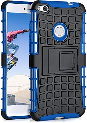 MoEx Huawei P8 Lite 2017 Hülle Silikon Hard-Case Blau [OneFlow Outdoor Back-Cover] Extrem Stoßfest Schutzhülle Grip Handyhülle für Huawei P8 Lite/Honor 8 Lite Case Rückseite Tasche