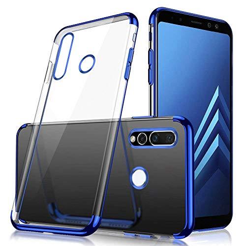 Uposao Compatible avec Coque Huawei Nova 4 Transparent Cristal Clair Silicone Gel Coque de téléphone + Glitter Placage Métal Coque Ultra Mince Souple Flexible Bumper Case Housse Etui,Bleu