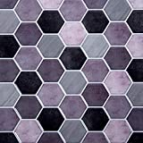 Truu Design Self-Adhesive Accent Set for Kitchen Backsplash, Bathroom, and Living Room Peel and Stick Wall Tiles, 10' x 10', Purple