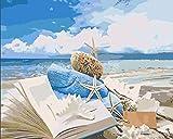 YUHHGFK DIY Pintura por Números Libro de Playa Pint por Número de Kits con Pinceles y Pinturas para Adultos, niños y Principiantes Decoraciones Hogar - 40 X 50 cm (Sin Marco)