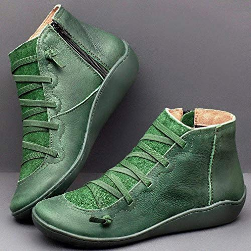 Haowen Otoño e Invierno Zapatos Casuales para Mujer Cremallera Lateral Zapatos Planos Informales cálidos Verde 43