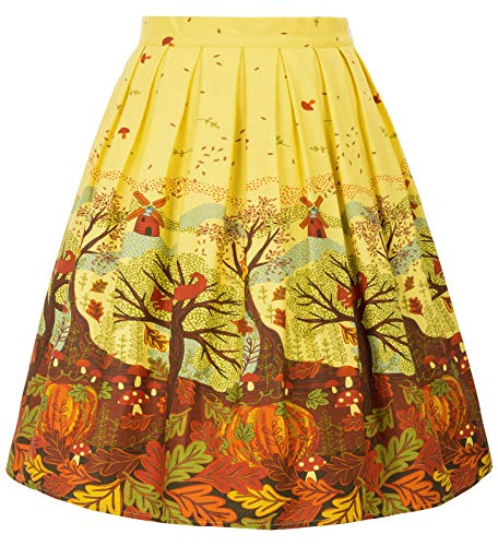 GRACE KARIN Casual Pocket Yellow Floral Skirts Wear to Work Size M F-40 CL6294