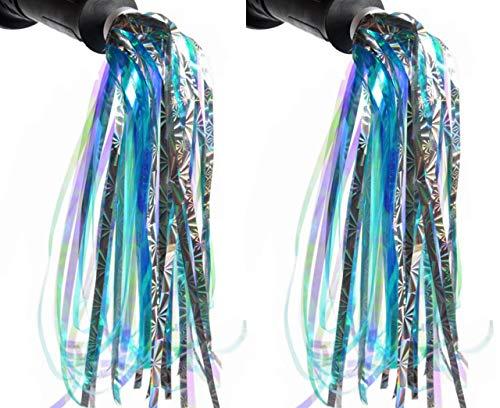 Upstore 1 Paar Kinder Roller Fahrrad Quaste Band Lenker Bunte Luftschlangen Pompon Paar Fahrrad Griffe Sparkle Babytrage Dekoration Zubehör (blau)