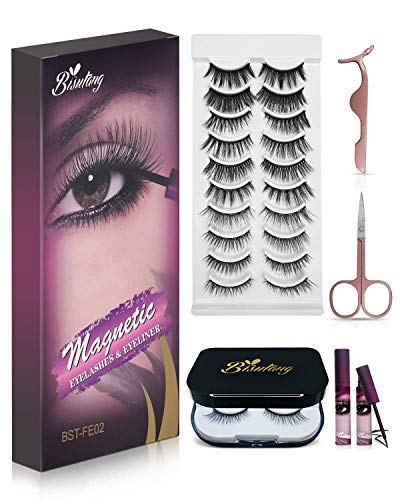 Bisutang Magnetic Eyelashes with Eyeliner, 12-Pair Reusable Magnetic Lashes with 2 Tubes of Magnetic Eyeliner, Glue-free Natural Look Eye Lashes Kit with Scissors Tweezers & Mirror Case