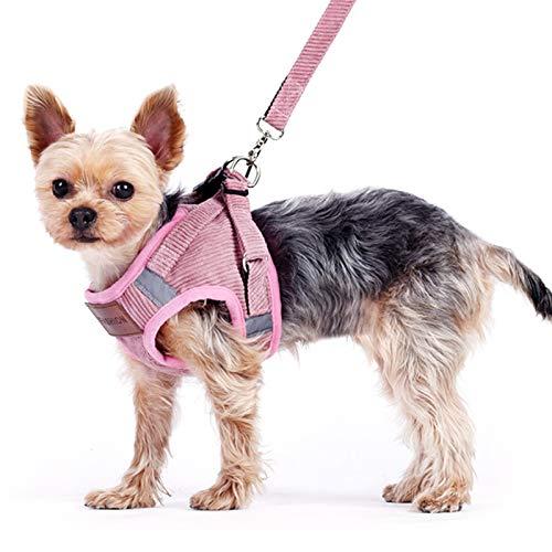 Elinala Arnés Perro Pequeño, Arnes Perro Chihuahua, Arnés Transpirable y Cómodo para Perros y Gatos para Mascotas, Cinturones de Seguridad para Caminar para Mascotas Pequeñas y Medianas (S, Rosa)