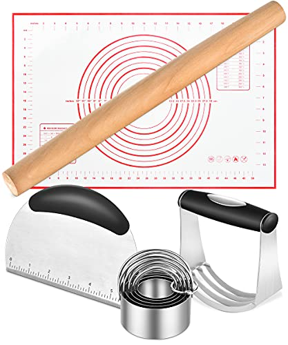 Pastry Cutter, Rolling Pins for Baking, Dough Scraper, Baking Mat, Biscuit Cutter, Pastry Blender Christmas,Thanksgiving Gift, Dough Cutter, Rolling Pin, Pastry Mat for Pizza, Bench Scraper Set 5pcs