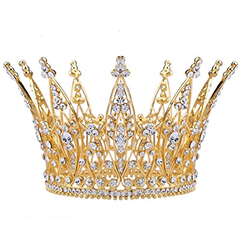 Stuffwholesale 4inch Height Gold Royal Crown Rhinestone Crystal Tiara Bridal Wedding Pageant Bouquet Hair Accessory (#3)