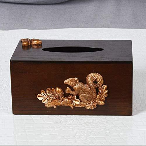 MUZIDP Caja de pañuelos multifunción de madera Sala de estar Mesa de café Control remoto Caja de almacenamiento creativa Bandeja de papel casero Caja de papel europea 21x10x12.7cm Caja de pañuelos