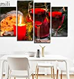 Lienzo decorativo para pared, 4 piezas de moderno bodegón botella de vino, pintura de vino tinto y champán, con vidrio de frutas y barril, fotos de cocina, 30 x 60 + 30 x 80