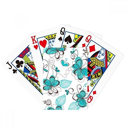 Juego de mesa de arte moderno con diseño de flores de aguamarina y póquer