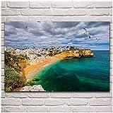 Pueblo de pescadores de Carvoeiro Hermosa playa Algarve Naturaleza Decoración de sala de estar Decoración de arte de pared para el hogar Carteles de tela de marco de madera -50X75Cm Sin marco