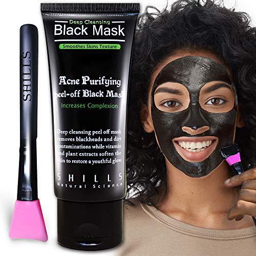 SHILLS Charcoal Black Mask, Blackhead Remover, Pore Control, Skin Cleansing, Purifying Bamboo Charcoal, Peel Off Black Mask, Smart Beauty, Pink Brush 1 Bottle(1.69 fl. oz)