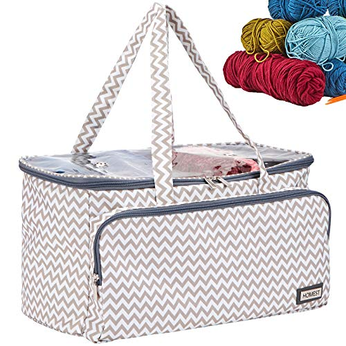 HOMEST Yarn Storage Bag with Clean Top, Portable Knitting Tote for Yarn Skeins, Crochet Hooks, Knitting Needles(up to 16 inches), with 3 Oversized Grommets, Ripple