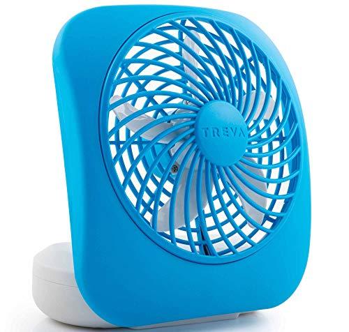 O2COOL Treva 5-Inch Portable Desktop Air Circulation Battery Fan | 2 Cooling Speeds, Compact Folding & Tilt Design, Light Blue