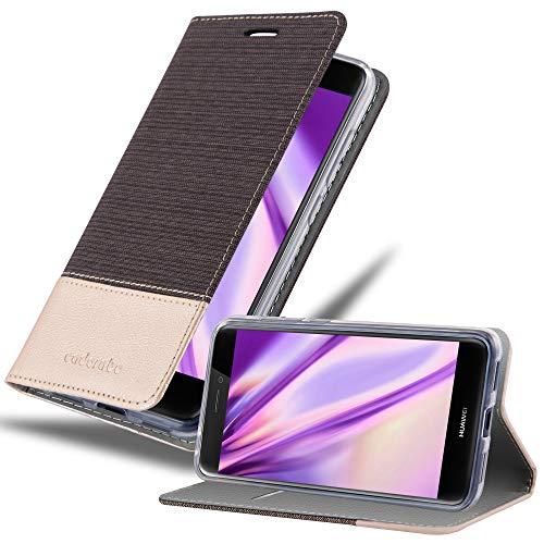 Cadorabo Funda Libro para Huawei P8 Lite 2017 en Antracita Oro - Cubierta Proteccíon con Cierre Magnético, Tarjetero y Función de Suporte - Etui Case Cover Carcasa