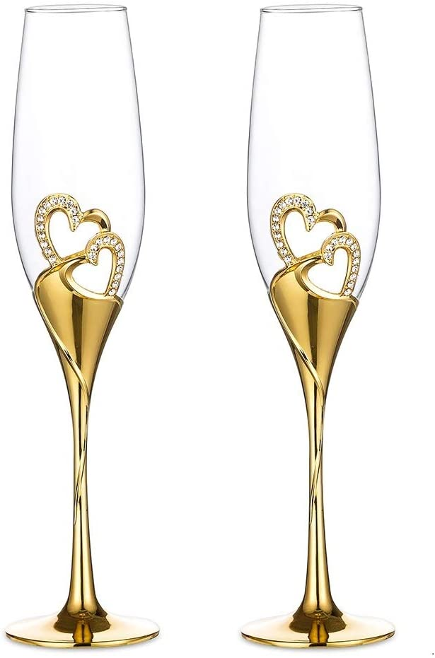Wedding Surprise price Champagne Glass Max 71% OFF Set Gold Toasting Flute Deluxe P Glasses