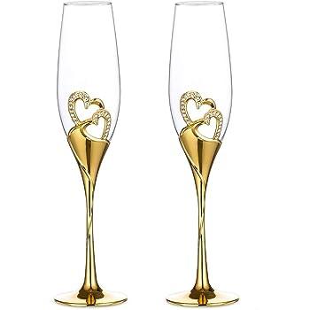Sziqiqi Una Pareja 2 Piezas De Copas Creativas De Altao Grado Copas Copas De Cristal De Esmalte con Diamente En Forma De Corazón para Loa Amantes, Oro: Amazon.es: Hogar