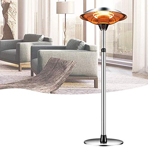 Outdoor Heaters for Patio Electric Only, Garage Heater Infrared Halogen Fire Tube Heater Three Adjustable Level Standing Patio Heater For Garden Party Balcony, Weatherproof, 1500w (economy shipping)