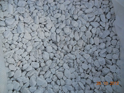Granisud Ciottoli Bianchi Marmo Carrara, Misura 15/25 Mm Set Da 6 Sacchi Da 25 Kg, Decorazione Giardino, Aiuole, Vasi, Anfore Per Esterno Ed Interno