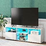 TETHYSUN Fernsehschrank weiß Hochglanz, TV-Schrank mit LED-Beleuchtung TV Board Lowboard Fernsehschrank mit LED MDF in weiß Hochglanz, 130cm