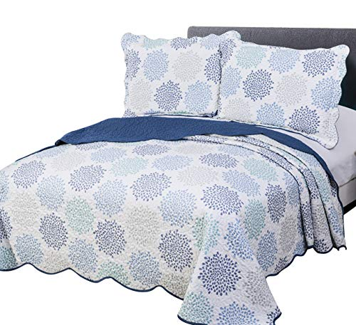 vivinna home textile Disperse Printing Quilt Set Queen/Full Size(90'x90' Blue Florencia) 3-Piece Bedspread Soft All-Season Luxury Microfiber Reversible Bedspread and Coverlet.